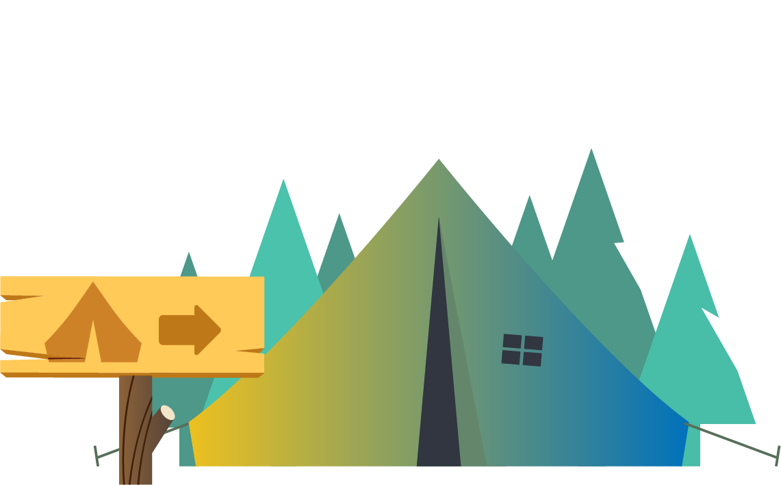 illustration of tent and sign at a campground
