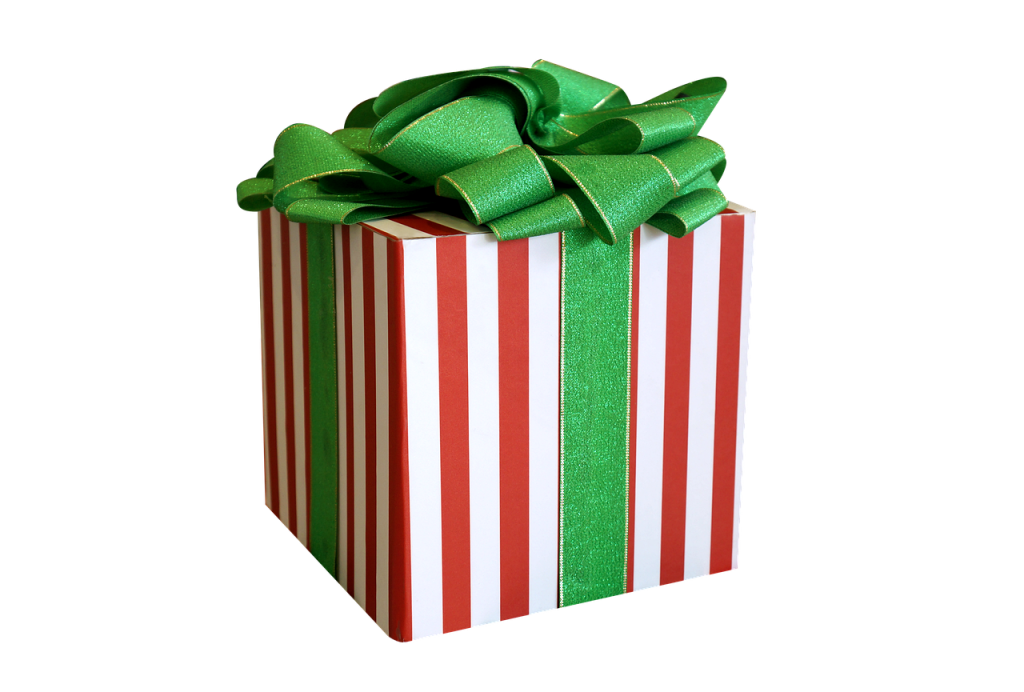 Red and White gift box with green bow
