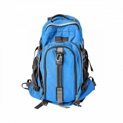 A high-resolution image of an isolated blue-colored rucksack on white background. High-quality clipping path included.